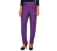 Bob Mackies Crinkled Lurex Slim Leg Knit Pants w/ Elastic Waist - A238460