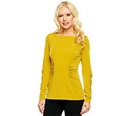 George Simonton Milky Knit Top with Ruching Detail - A238560