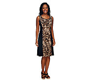 Susan Graver Printed Liquid Knit Dress w/ Solid Panels - A255360