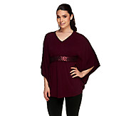 Susan Graver Liquid Knit Scarf Top with Front Sequin Trim - A255960