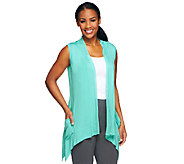 As Is LOGO by Lori Goldstein V-Neck Vest with Chiffon Trim - A258460