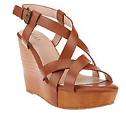 As Is G.I.L.I Brenda Leather Multi Strap Criss Cross Wedges - A259660