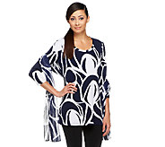 As Is Susan Graver Printed Liquid Knit 3/4 Sleeve Tunic - A260560