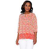 Liz Claiborne New York Border Print Tunic with Pleating Detail - A262960