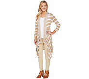 Attitudes by Renee Open Front Chevron Printed Knit Cardigan - A264060