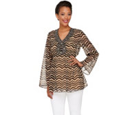 Attitudes by Renee Printed Tunic with Beaded V-neckline
