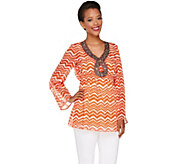 Attitudes by Renee Printed Tunic with Beaded V-neckline - A265060