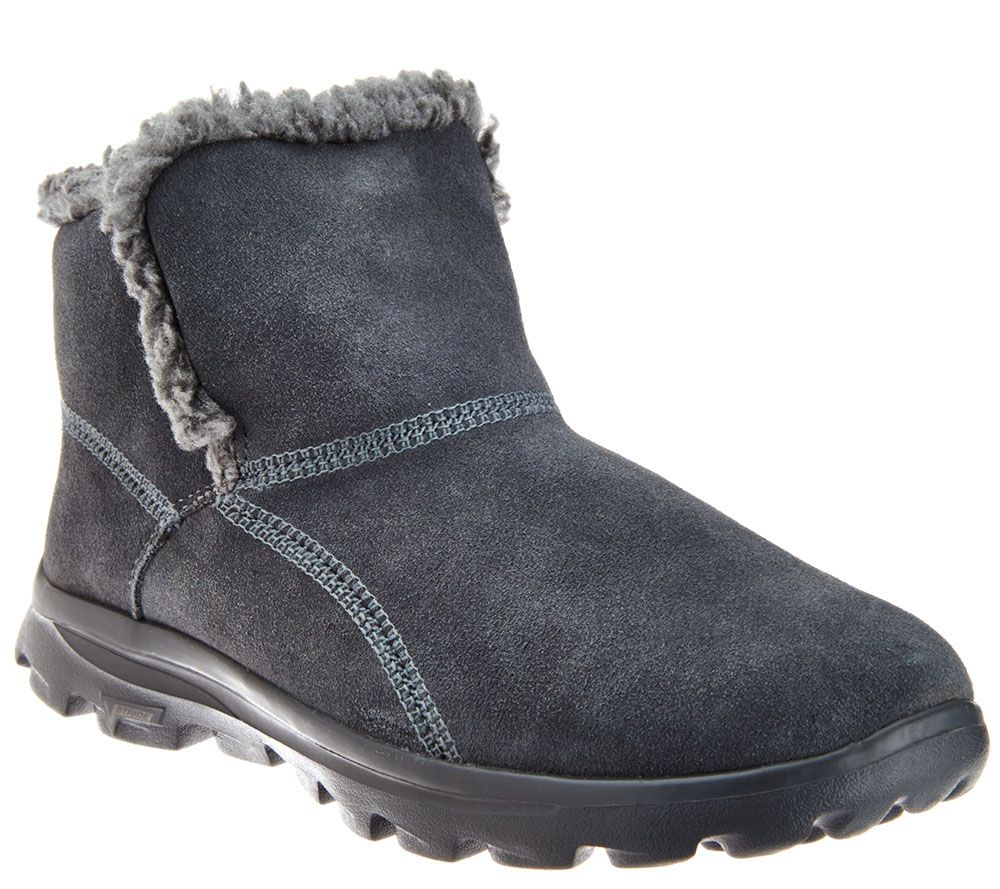 Skechers GOwalk Suede Faux Fur Boots w/ Memory Form Fit