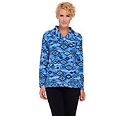 Denim & Co. Printed French Terry Shawl Collar Long Sleeve Top - A270160