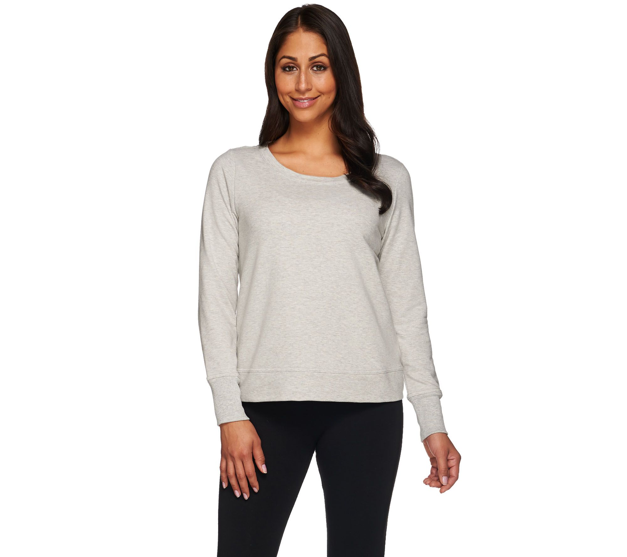 H by Halston Cropped French Terry Scoop Neck Sweatshirt