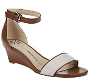 As Is Isaac Mizrahi Live! Ankle Strap Low Wedge Leather Sandals - A271760