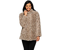 Dennis Basso Shawl Collar Textured Faux Fur Jacket - A272560