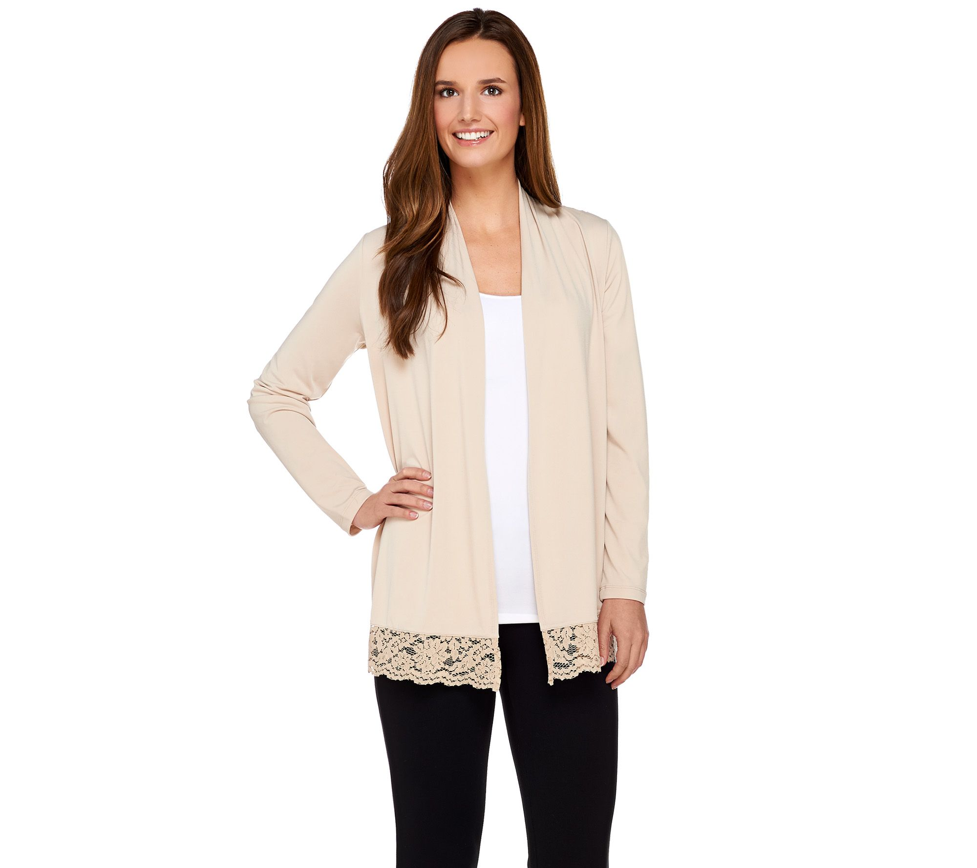 Susan Graver Liquid Knit Long Sleeve Cardigan with Lace Trim ...