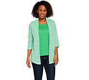 Quacker Factory 3/4 Sleeve Striped Knit Duet - A274260