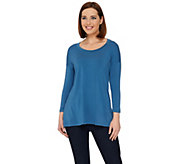 H by Halston Essentials Knit Scoop Neck 3/4 Sleeve Tunic - A274560