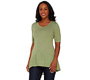 As Is LOGO by Lori Goldstein Short Sleeve Knit Top with Chiffon Trim - A275360