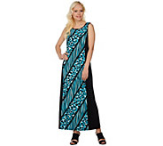 Bob Mackies Printed Knit Dress with Solid Side Panels - A276560
