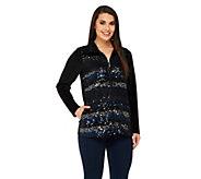 As Is Quacker Factory Lace & Sequin Zip Front Velour Jacket - A277460