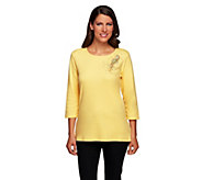 As Is Quacker Factory The Bright Side 3/4 Sleeve T-shirt - A278160