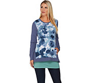 LOGO Lounge by Lori Goldstein French Terry Printed Top w/ Tank Twin Set - A282160