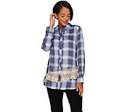 LOGO by Lori Goldstein Button Front Plaid Shirt with Lace Trim - A285360
