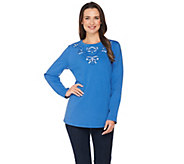 Susan Graver Artisan French Terry Long Sleeve Embellished Top - A286560