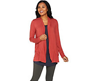 LOGO by Lori Goldstein Open Front Cardigan with Ruffles - A286960