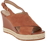 As Is H by Halston Sling- Back Crossover Espadrille Wedges - Stella - A287560