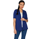 Susan Graver Weekend Stretch Cotton Modal Open Front Cardigan - A287660
