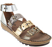 Naot Leather Sandals with Buckle Details - Begonia - A288160