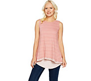 LOGO by Lori Goldstein Stripe Tank w/ Eyelet Hem and Solid Tank Set - A288860