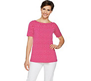 Susan Graver Printed Liquid Knit Convertible Neckline Top - A290760