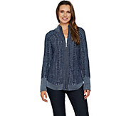 Isaac Mizrahi Live! TRUE DENIM Zip Front Cable Cardigan - A296760