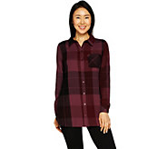 Denim & Co. Brushed Cotton Button Front Flannel Long Sleeve Shirt - A297760