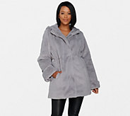Dennis Basso Zip Front Faux Fur Coat with Hood and Waist Detail - A300760