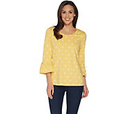 Denim & Co. Polka Dot Bracelet Bell Sleeve Top with Bow Detail - A303160