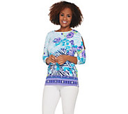 Susan Graver Printed Liquid Knit Split Sleeve Top - A304060