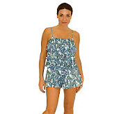 Fit 4 U Handkerchief Paisley Tiered Romper Swimsuit - A327360