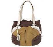 B. Makowsky Shimmer Leather Snap Top Tote with Patent Trim - A216761