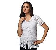 Liz Claiborne New York Short Sleeve Crochet Button Down Cardigan - A222161