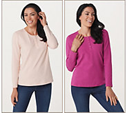 As Is Denim & Co. Set of 2 Long Sleeve Stretch Henleys - A235861