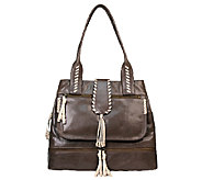 Muxo by Camila Alves Glazed Leather Shopper with Whipstitch - A237461