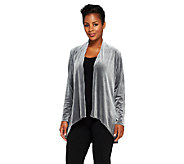 Susan Graver Knit Velvet Long Sleeve Cascade Front Cardigan - A238661