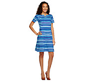 Liz Claiborne New York Short Sleeve Striped Knit Dress - A240861