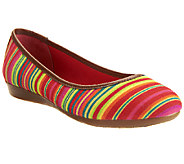 Liz Claiborne New York Striped Canvas Flats w/ Faux Leather Trim - A251961