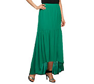 G.I.L.I. Hi-Low Hem Woven Skirt with Shirring Detail - A252761
