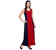 Susan Graver Liquid Knit Printed Maxi Dress w/ Solid Side Panels - A253261