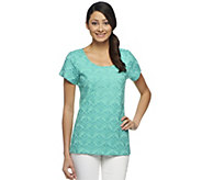 Isaac Mizrahi Live! Short Sleeve Embroidered Top - A253861