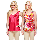Susan Graver Set of 2 Print and Solid Stretch Charmeuse Tanks - A254461