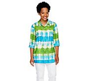 Susan Graver Printed Cotton Lawn Button Front Big Shirt - A254561